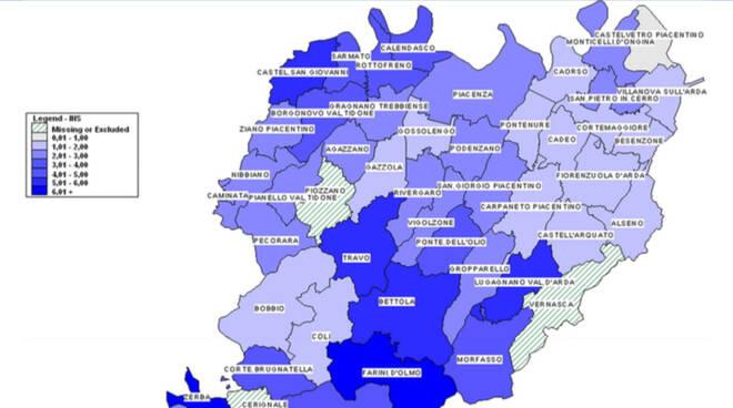 Mappa contagio Comuni