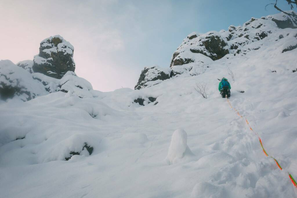 Prima scalata invernale sulla parete nord della Pietra Parcellara
