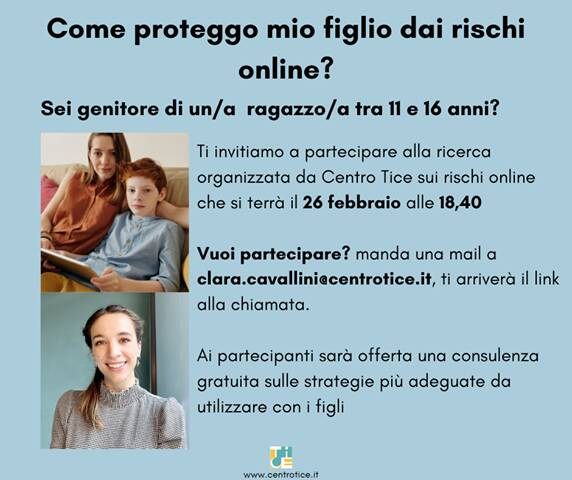 Locandina genitorialità e rischi online