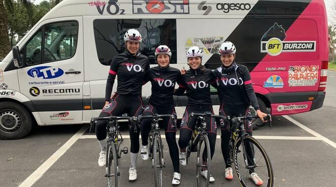Nella foto, da sinistra Elisa Tonelli, Cristina Tonetti, Aurora Mantovani e Alice Capasso (VO2 Team Pink)